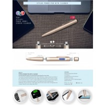 Stylus power pen with cleaner