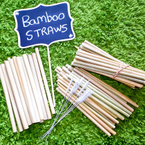Authentic Reusable Natural Bamboo Straws with Cleaner