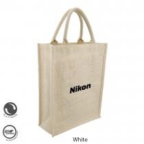 Eco Neutral / Eco Friendly Jute Semi White Personalized Bags (SISMAC) - Portrait Tall