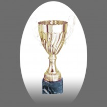 Gold Metal Trophy with Marble Base - Metal, Acrylic or Digital Sticker Branding - Awards - Small Sizes (Cup Shape)