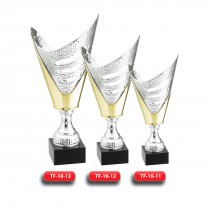 Plastic Trophy - Gold & Silver (Combined) Finish - Marble Base  with Metal, Acrylic or Digital Sticker Branding - Awards - Various Sizes (V Shape)