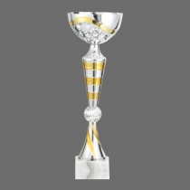 Plastic Trophy with Marble Base of Gold, Silver and Bronze Combination with Metal, Acrylic or Digital Sticker Branding - Awards - Small Sizes (Pillar Shape)