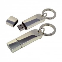 Heavy Glossy Metal USB with Similar Cap - Key Ring Attached, upto 32 GB Capacity with Metal Box - Engraving or UV Printing - 2 Sides Branding Optional