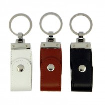 Leather USB with Button Closure and Metal Head and Metal Key Ring Holder upto 32 GB Capacity with Metal Box - Engraving or UV Printing - 1 Sides Branding