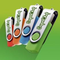 Swivel Traditional USB upto 32 GB Capacity with Plastic Box - UV Printing