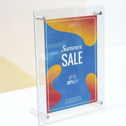 Sign Holder (Beveled Edge With Silver Knobs) - Acrylic