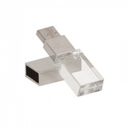Crystal Block USB with Light up Engraved Branding, upto 32 GB Capacity with Presentable Metal Box - 1 Spot Branding Through Engraving