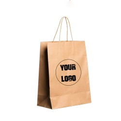 Personalized Kraft Paper Bags - 1 Color Print Option