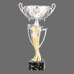 Spanish Trophy - Marble Base of Combined Colors  with Metal, Acrylic or Digital Sticker Branding - Awards - Additional Sizes (Bowl on Curved Pillar Shape)