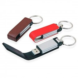 Leather Flip USB with Key Holder, upto 32 GB Capacity with Metal Box - Engraving or UV Printing - 2 Sides Branding Optional