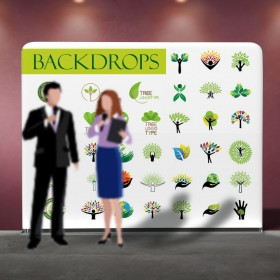 Large Photo Backdrops Display for Corporate or Sports Events - Tension Fabric Display Stand Straight
