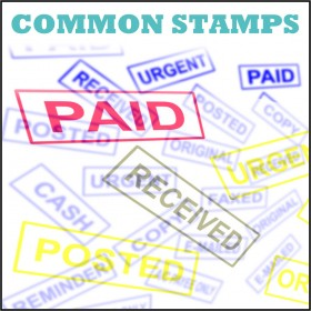 Ready Rubber Stamps for Paid, Delivered Canceled, AC Payee, Posted, Urgent, Oiginal, Faxed, Cash, Copy, Reminder, Emailed