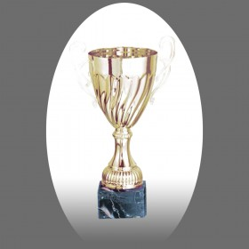Gold Metal Trophy with Marble Base - Metal, Acrylic or Digital Sticker Branding - Awards - Large Sizes (Cup Shape)