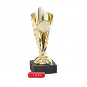 Plastic Trophy - Gold, Silver and Bronze Material - Marble Base  with Metal, Acrylic or Digital Sticker Branding - Awards