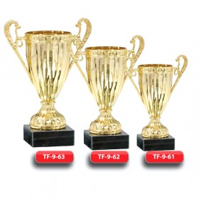Plastic Trophy - Gold Finish - Marble Base  with Metal, Acrylic or Digital Sticker Branding - Awards - Various Sizes (Cup Shape)