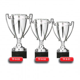 Plastic Trophy - Silver Finish - Marble Base  with Metal, Acrylic or Digital Sticker Branding - Awards - Various Sizes (Cup Shape)