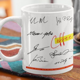 Pre-printed Motivational Mugs - Photo / Autographic Signature Classical Collage of Celebrities (Limited Personalization)