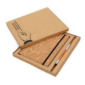 Corq Notebook & Bamboo Pen Packed in Gift Box (Screen print)