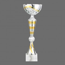 Plastic Trophy with Marble Base of Gold, Silver and Bronze Combination with Metal, Acrylic or Digital Sticker Branding - Awards - Large Sizes (Pillar Shape)
