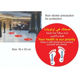 Social Distancing Floor Stickers (COVID-19) Precaution for Corona Protection - 200gsm Matt Lamination and UV Protection (Optional)
