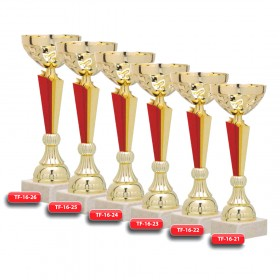 Plastic Combination Trophy - Marble Base  with Metal, Acrylic or Digital Sticker Branding - Awards - Big Sizes (Bowl on Pillar Shape)