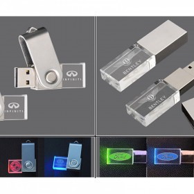 Crystal Swivel Metal Casing USB with Lighting up Branding, upto 32 GB Capacity with Keyring Attachment Hook and Presentable Plastic Box - 1 Spot Branding Through Engraving